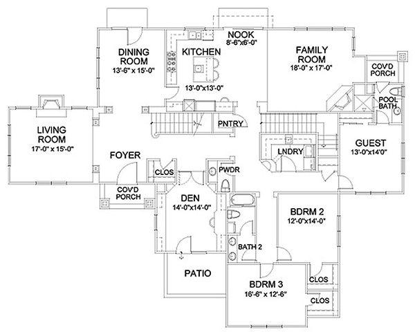 Mediterranean Floor Plan - Main Floor Plan Plan #490-31