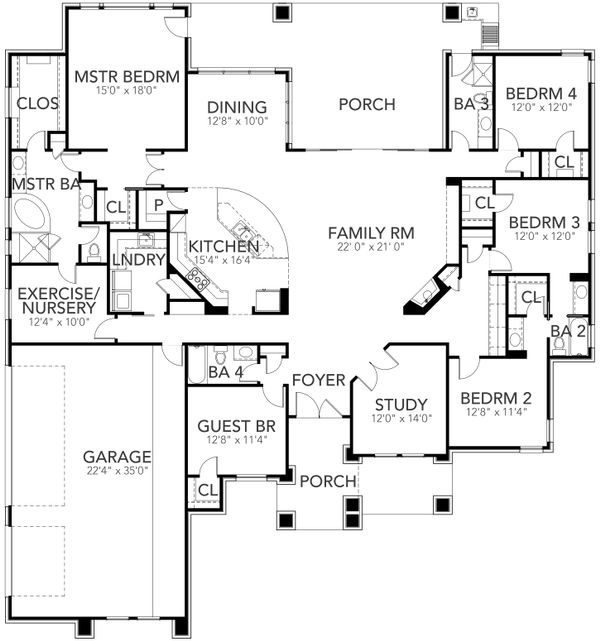 Dream House Plan - Contemporary Floor Plan - Main Floor Plan #80-216