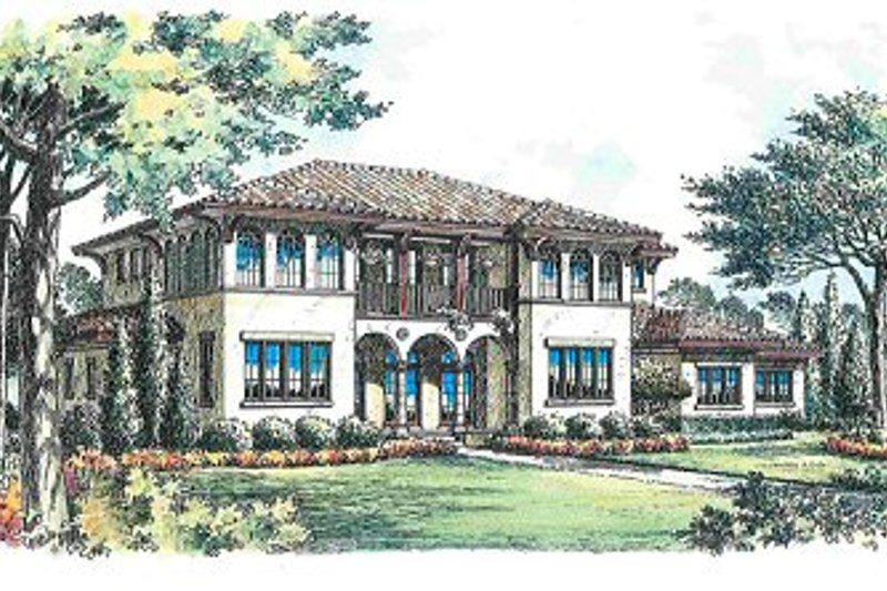 Mediterranean Style House Plan - 5 Beds 6.5 Baths 6534 Sq/Ft Plan #135-143 Exterior - Front Elevation
