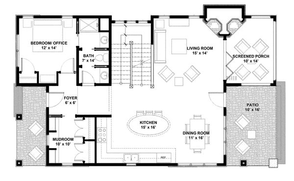 Bungalow Floor Plan - Main Floor Plan Plan #928-9