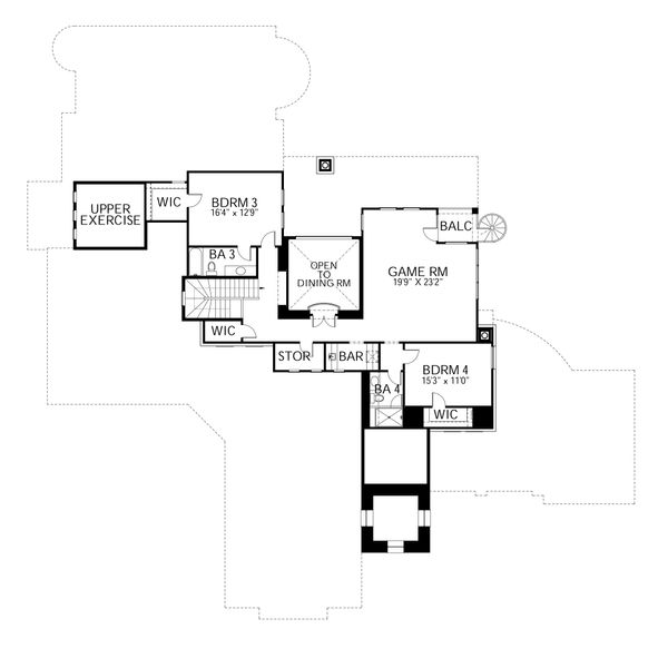 Dream House Plan - Mediterranean Floor Plan - Upper Floor Plan #80-214