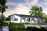 Adobe / Southwestern Style House Plan - 3 Beds 3 Baths 2111 Sq/Ft Plan #1-901 Exterior - Front Elevation