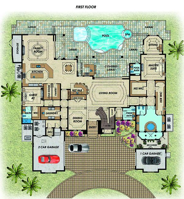 Contemporary Floor Plan - Main Floor Plan Plan #548-27