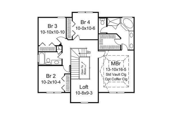 Traditional Floor Plan - Upper Floor Plan Plan #57-660