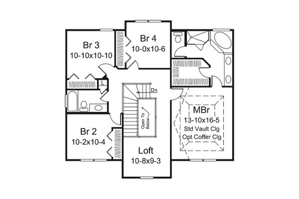 Dream House Plan - Traditional Floor Plan - Upper Floor Plan #57-660