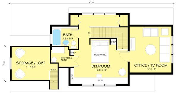 Craftsman Floor Plan - Upper Floor Plan Plan #454-13