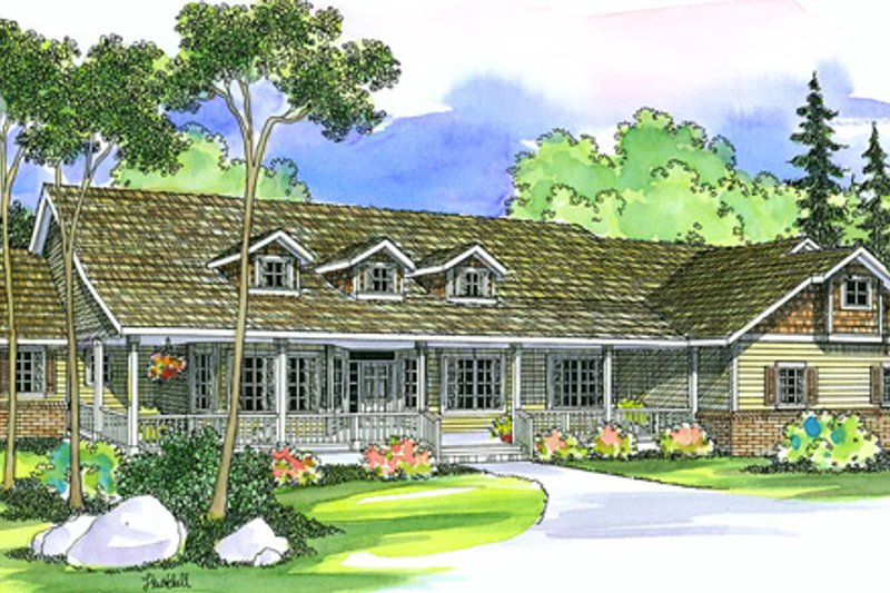 Ranch Exterior - Front Elevation Plan #124-391