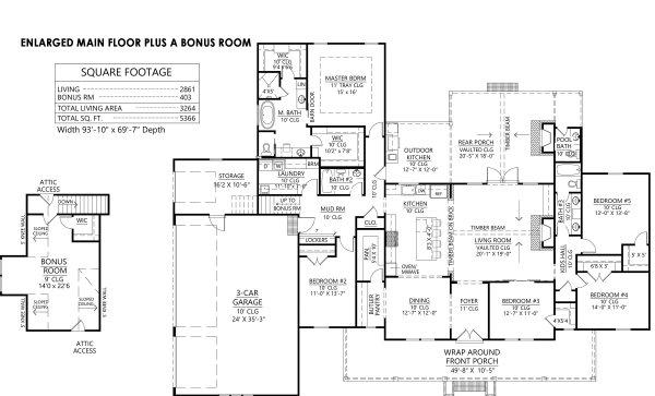 Dream House Plan - Extended Main Floor w Bonus Room Option