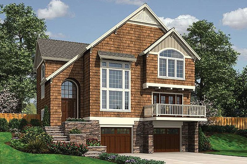 Craftsman style house plan 3 beds 2 5 baths 2044 sq ft for Front sloping lot house plans