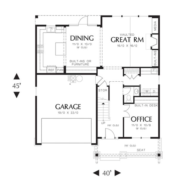 Craftsman Floor Plan - Main Floor Plan Plan #48-523
