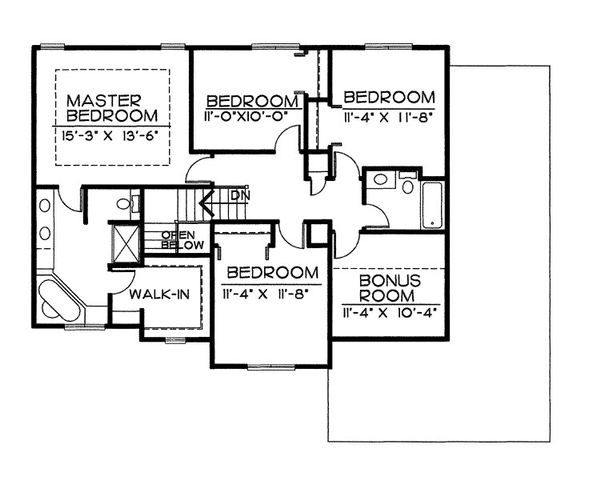 Traditional Floor Plan - Upper Floor Plan Plan #20-2051