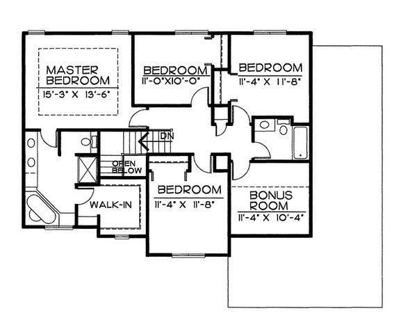 Traditional Floor Plan - Upper Floor Plan Plan #20-2051