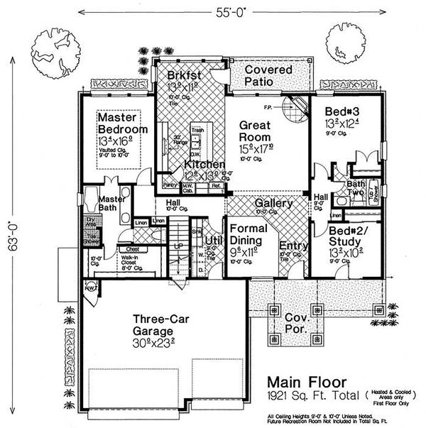 Craftsman Floor Plan - Main Floor Plan Plan #310-1320