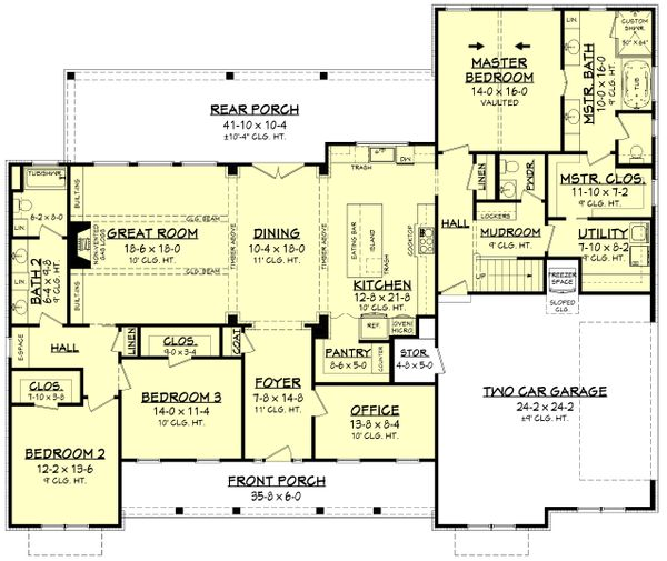 Farmhouse Floor Plan - Main Floor Plan #430-204