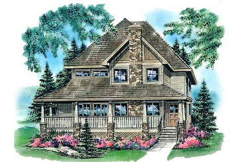 Country Style House Plan - 4 Beds 3 Baths 1784 Sq/Ft Plan #18-291 Exterior - Front Elevation