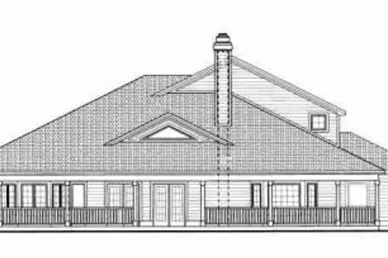 Traditional Exterior - Rear Elevation Plan #72-330 - Houseplans.com
