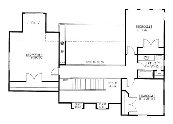 Craftsman Floor Plan - Upper Floor Plan Plan #437-119