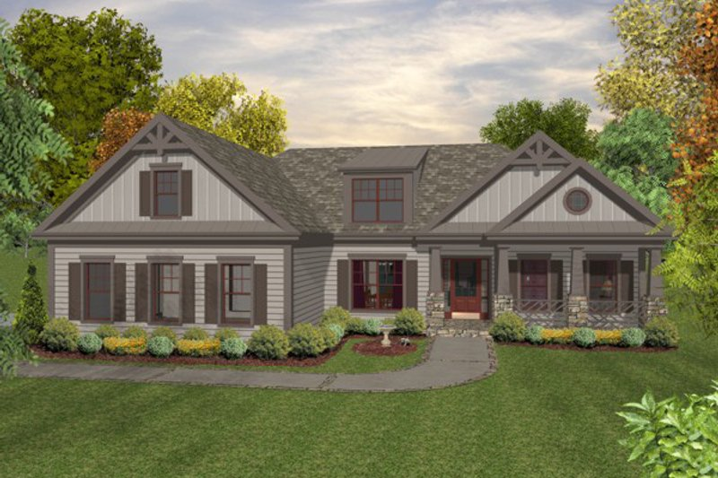 Craftsman Style House Plan - 3 Beds 2 Baths 1800 Sq/Ft Plan #56-634 Exterior - Front Elevation