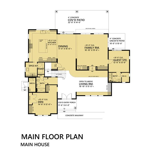 Mediterranean Floor Plan - Main Floor Plan Plan #1066-46