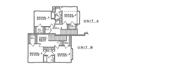 Craftsman Floor Plan - Upper Floor Plan Plan #935-3