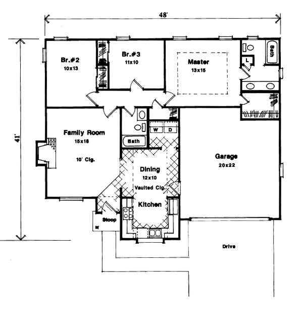 Country Floor Plan - Main Floor Plan Plan #41-106