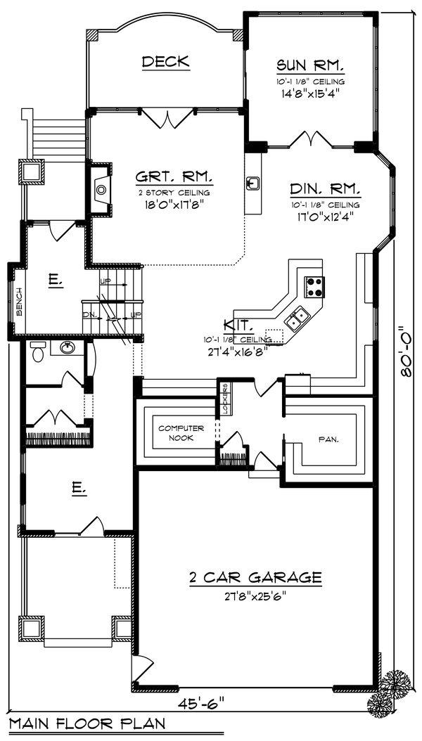 Craftsman Floor Plan - Main Floor Plan #70-1433