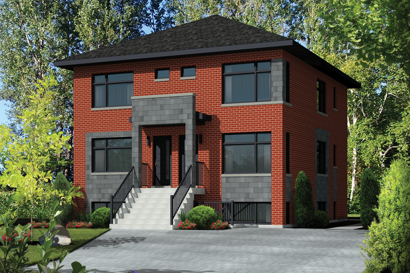 Contemporary Style House Plan - 7 Beds 3 Baths 3456 Sq/Ft Plan #25-4557 Exterior - Front Elevation