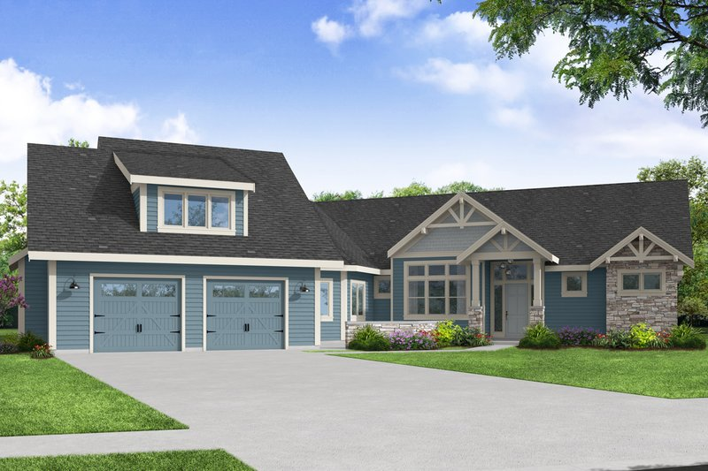 Dream House Plan - Craftsman Exterior - Front Elevation Plan #124-1237