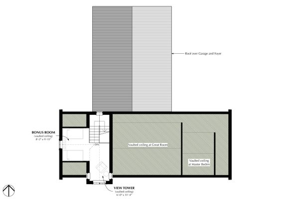 Cottage Style House Plan - 2 Beds 2 Baths 1280 Sq/Ft Plan #933-9 Floor Plan - Upper Floor Plan