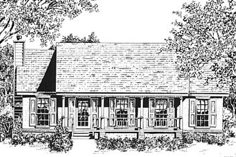 Country Style House Plan - 3 Beds 2 Baths 1247 Sq/Ft Plan #14-147 Exterior - Front Elevation