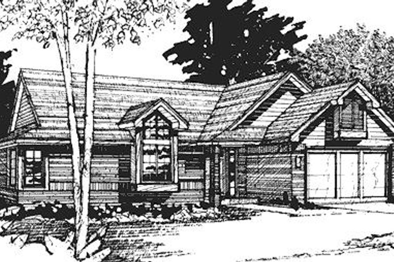 Contemporary Style House Plan - 2 Beds 2 Baths 1120 Sq/Ft Plan #320-444 Exterior - Front Elevation