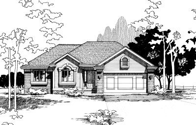 Traditional Style House Plan - 3 Beds 3 Baths 1341 Sq/Ft Plan #20-144 Exterior - Front Elevation