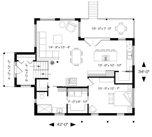 Home Plan - Modern Floor Plan - Main Floor Plan #23-2672