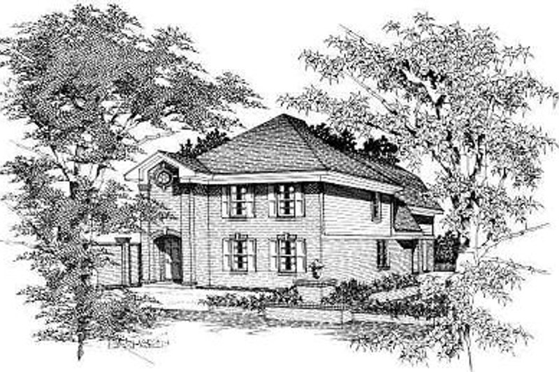 European Style House Plan - 3 Beds 2 Baths 1675 Sq/Ft Plan #329-204 Exterior - Front Elevation