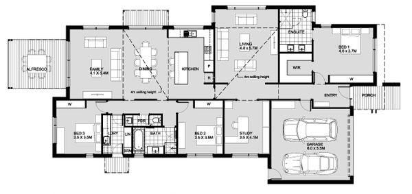 Modern Style House Plan - 3 Beds 2.5 Baths 3740 Sq/Ft Plan #496-22 Floor Plan - Main Floor Plan