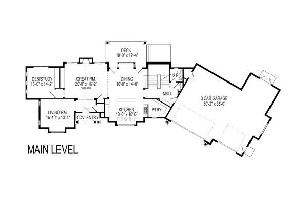 Craftsman Floor Plan - Main Floor Plan Plan #920-23