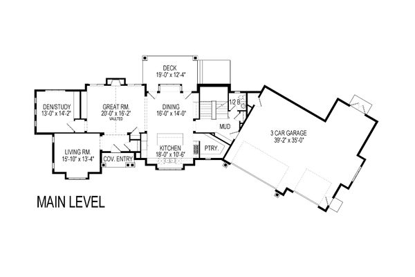Craftsman Floor Plan - Main Floor Plan Plan #920-23