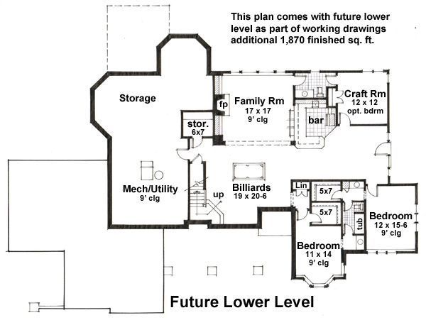 Floor Plan - Lower Floor Plan Plan #51-531
