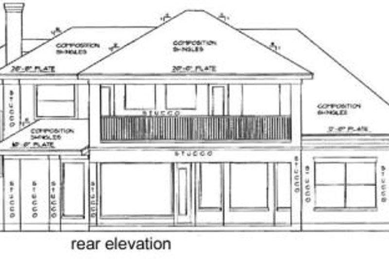 European Exterior - Rear Elevation Plan #61-107 - Houseplans.com