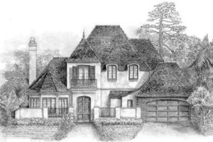 European Exterior - Front Elevation Plan #301-117