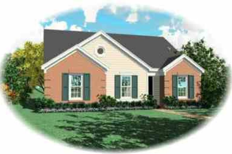 Traditional Style House Plan - 3 Beds 2 Baths 1257 Sq/Ft Plan #81-164 Exterior - Front Elevation