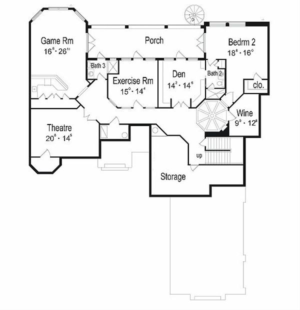 European Floor Plan - Upper Floor Plan Plan #417-446