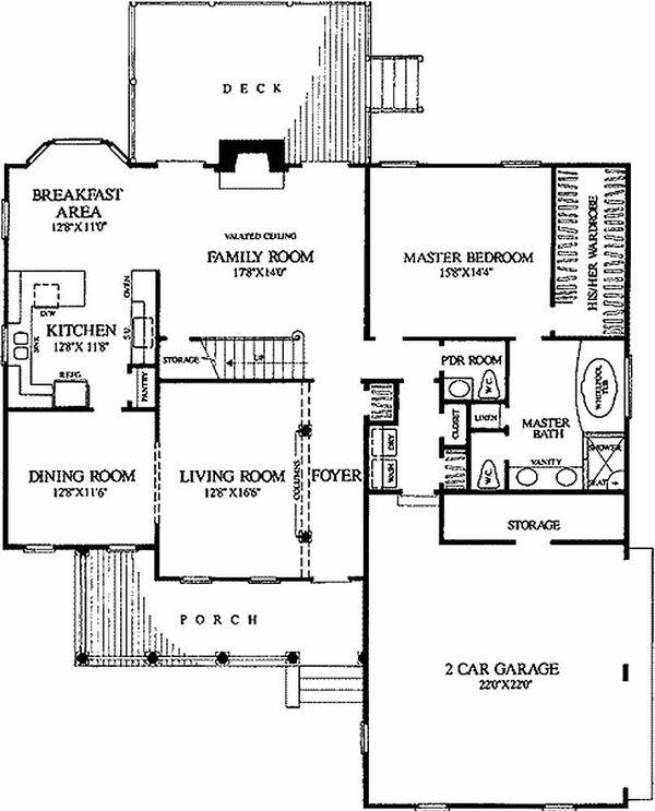 Southern Floor Plan - Main Floor Plan Plan #137-212