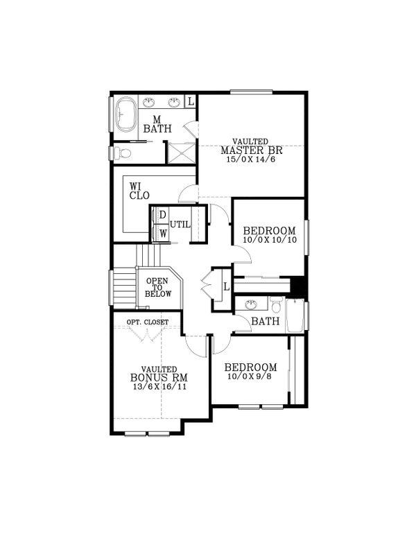 Craftsman Floor Plan - Upper Floor Plan Plan #53-477