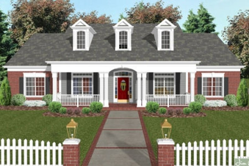 Country Style House Plan - 4 Beds 3 Baths 1992 Sq/Ft Plan #56-582 Exterior - Front Elevation