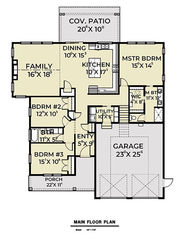 Architectural House Design - Country Floor Plan - Main Floor Plan #1070-37