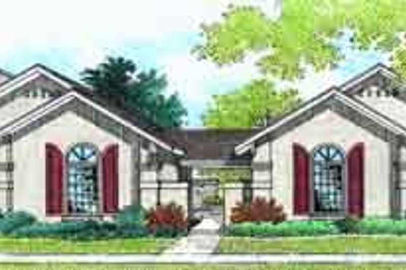 European Style House Plan - 2 Beds 2 Baths 2166 Sq/Ft Plan #45-221 Exterior - Front Elevation