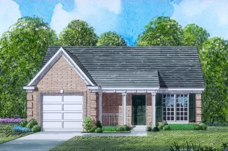 Traditional Style House Plan - 3 Beds 2 Baths 1201 Sq/Ft Plan #424-51 Exterior - Front Elevation