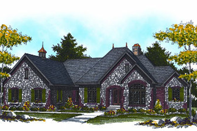 European Exterior - Front Elevation Plan #70-889