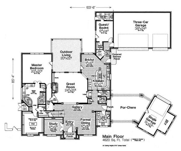 European Floor Plan - Main Floor Plan Plan #310-1301